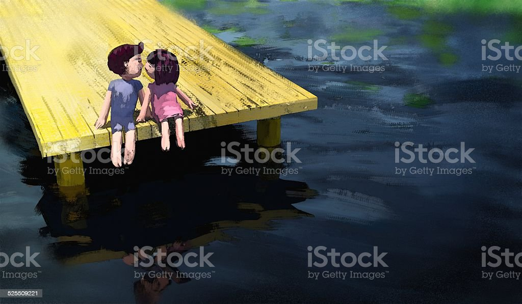 watercolor painting of boy and girl kissing on the waterfront vector art illustration