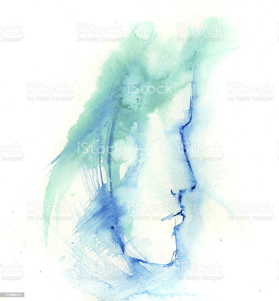 Watercolor painting of boy's profile in blue and green vector art illustration