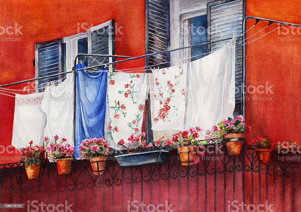 Watercolor Painting of Hanging Laundry royalty-free stock vector art