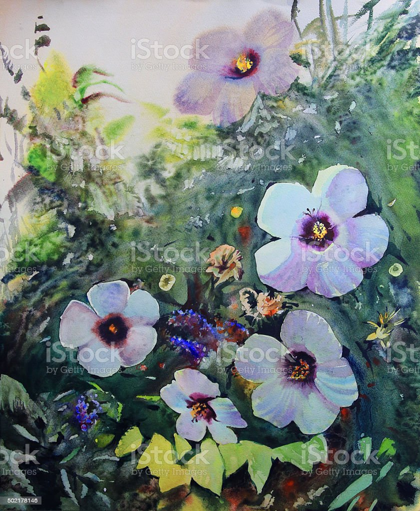 Watercolor painting of the beautiful flowers. vector art illustration