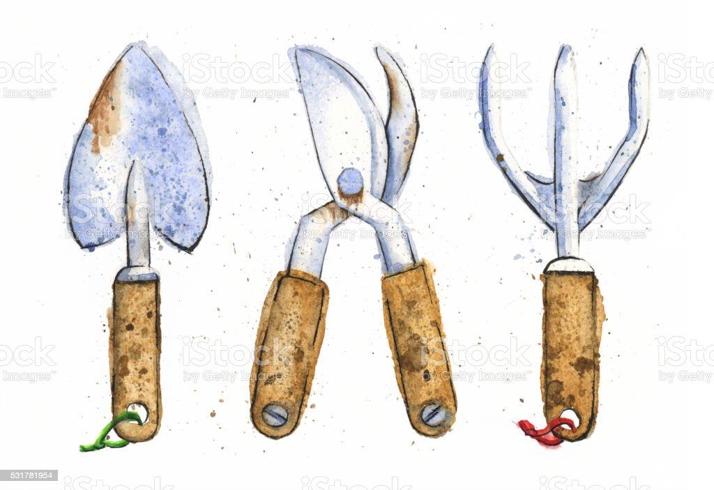 Watercolor Painting of Various Gardening Tools. Raster Illustration. vector art illustration