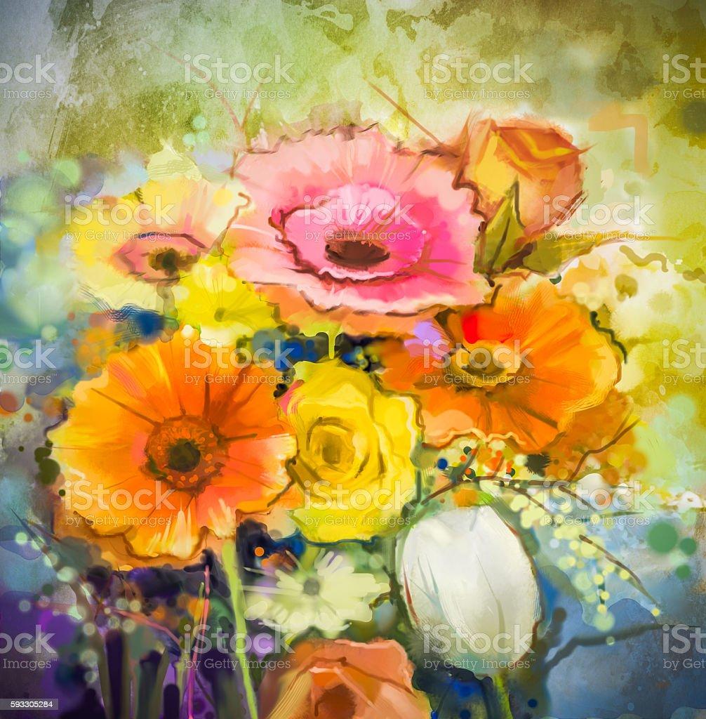 Watercolor painting still life  gerbera, rose, tulip flowers vector art illustration