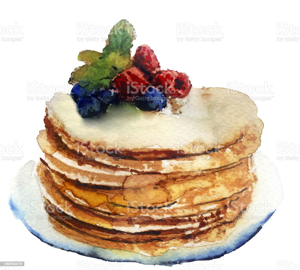 watercolor pancakes on a plate on a white background vector art illustration