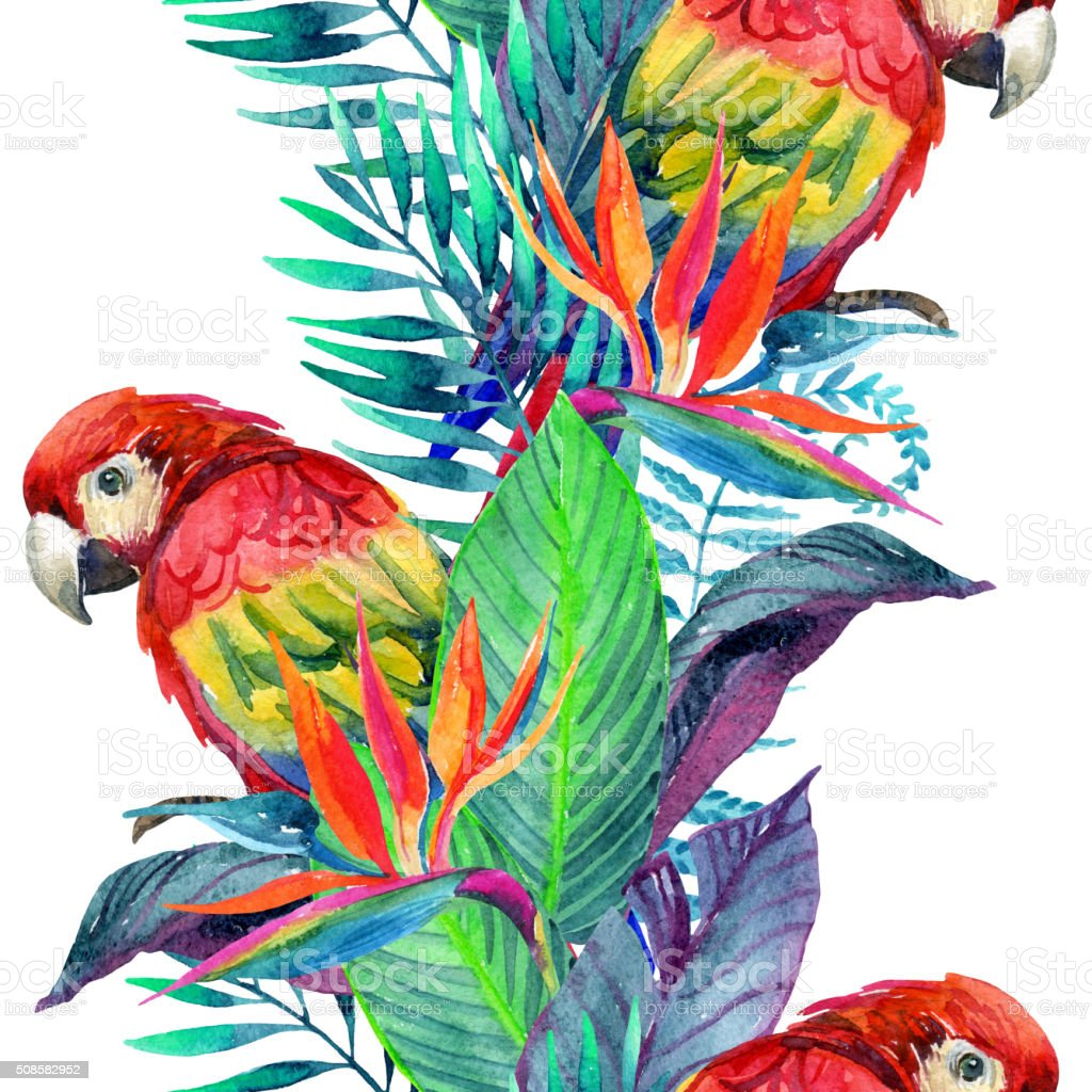 watercolor parrots with tropical flowers seamless pattern stock photo