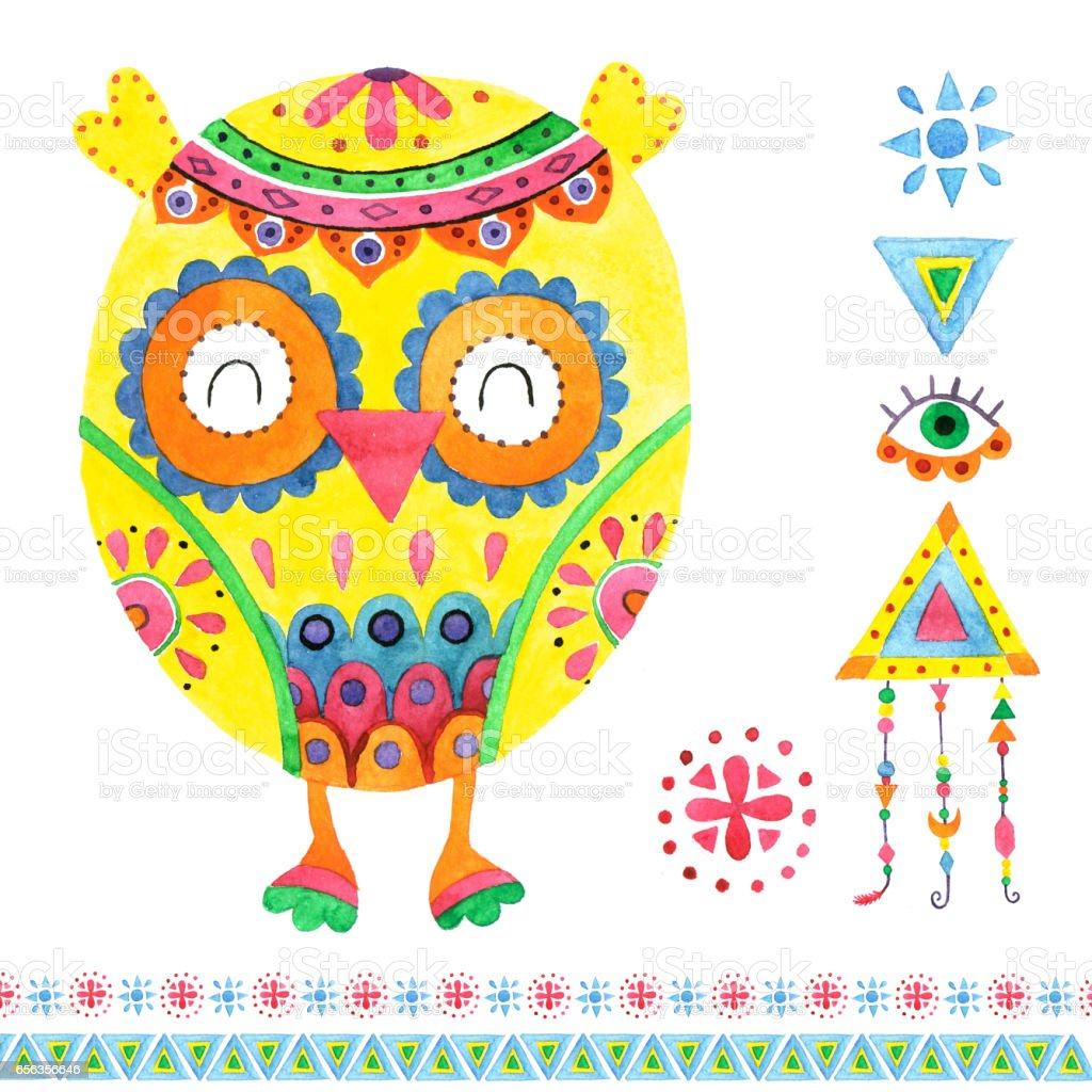 Watercolor pattern owl and elements. vector art illustration