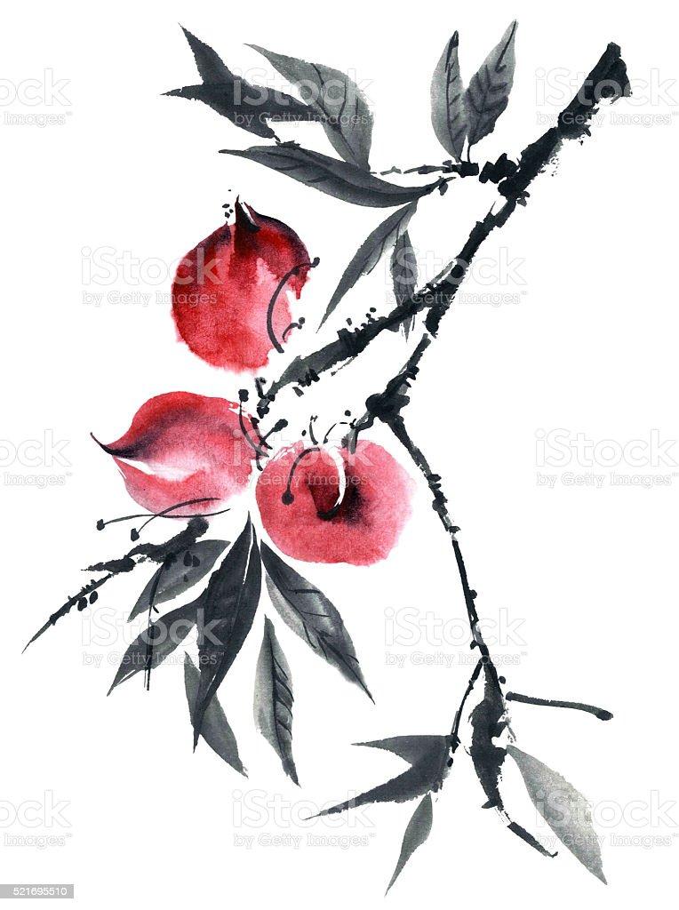 Watercolor peaches tree vector art illustration