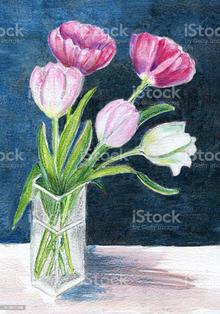 Watercolor pencils painted tulip arrangement on dark blue textured background vector art illustration