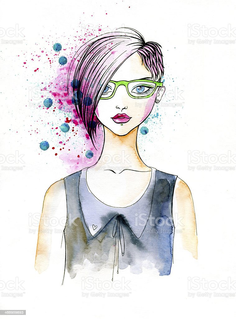 Watercolor Portrait of Hipster Girl royalty-free stock vector art