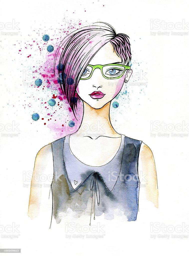 Watercolor Portrait of Hipster Girl vector art illustration