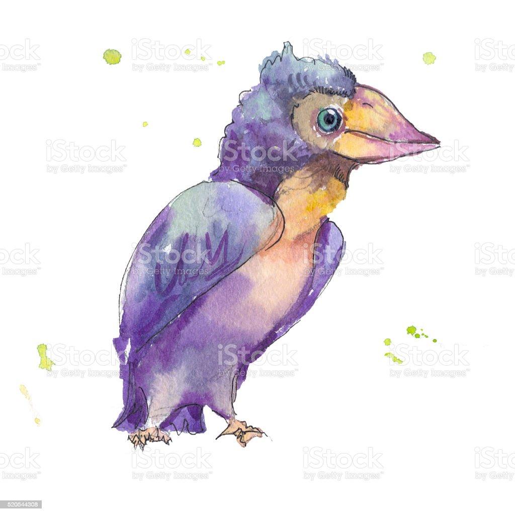 watercolor purple bird vector art illustration