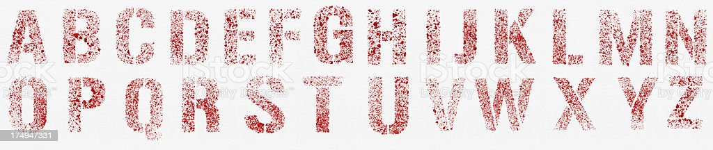 WaterColor Red Blots Alphabet (Clipping Path) royalty-free stock vector art