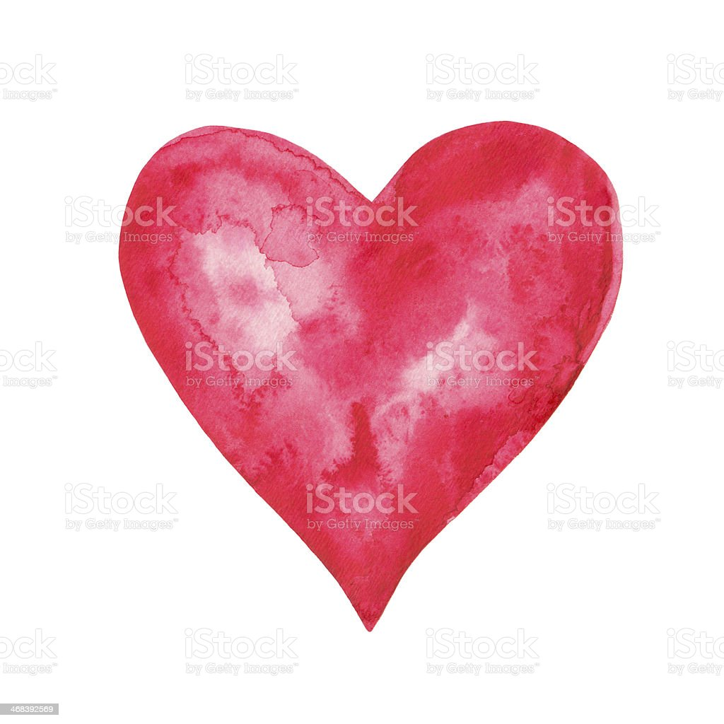 Watercolor red heart isolated vector art illustration
