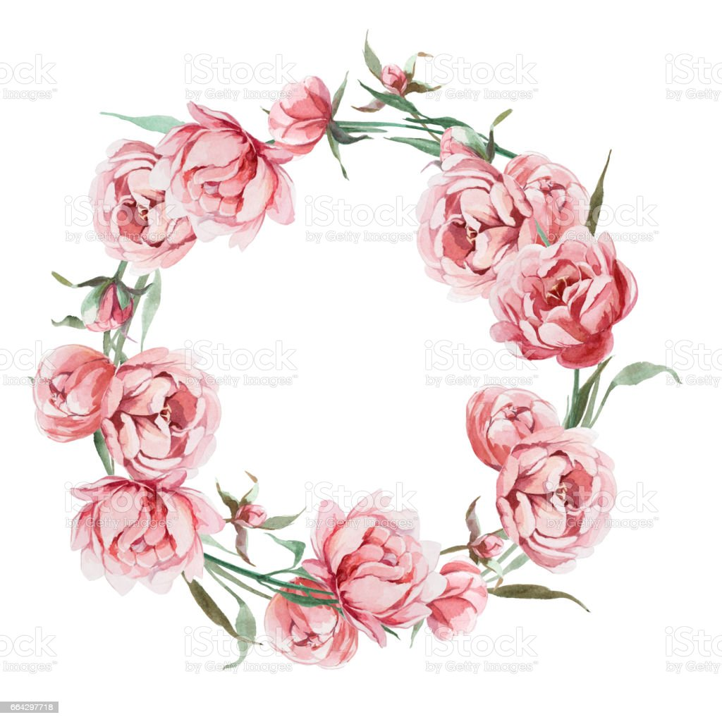 Watercolor Romantic Wreath Of Rose Peony Flower Isolated