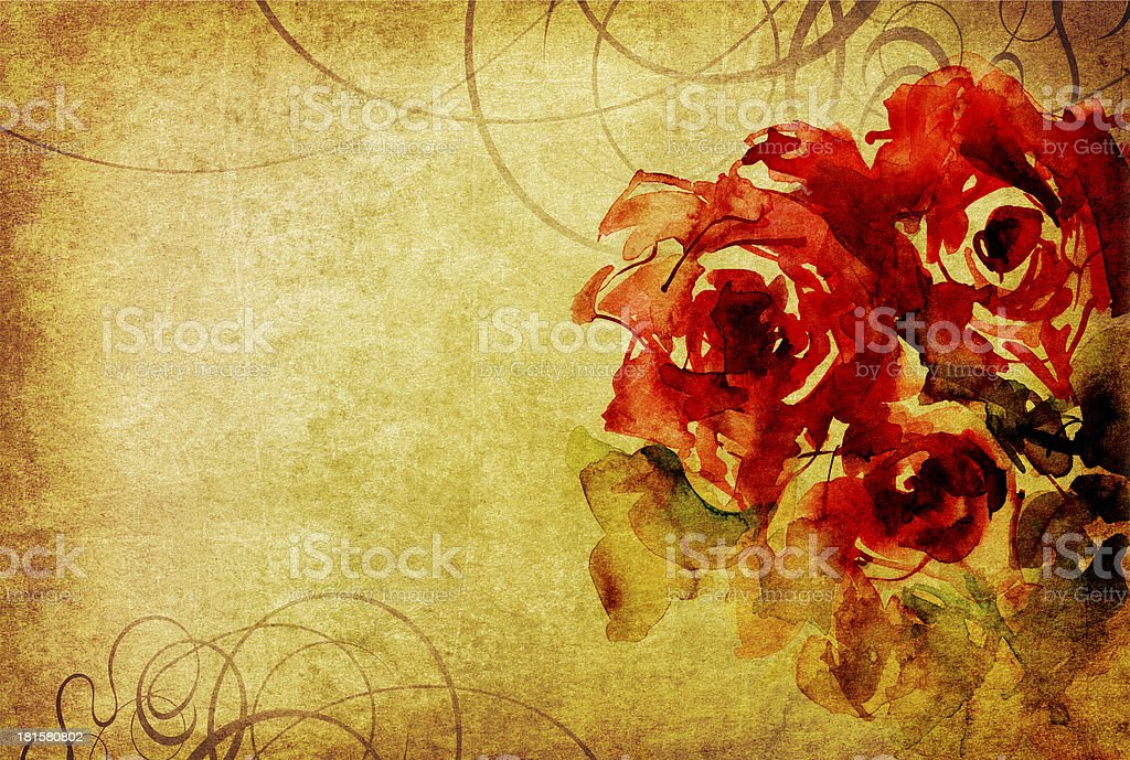 watercolor roses and ornament on old paper royalty-free stock vector art