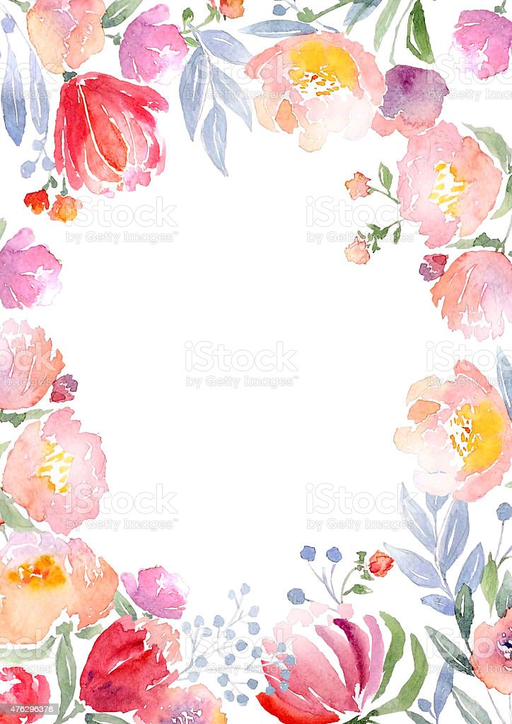 Watercolor roses card template vector art illustration