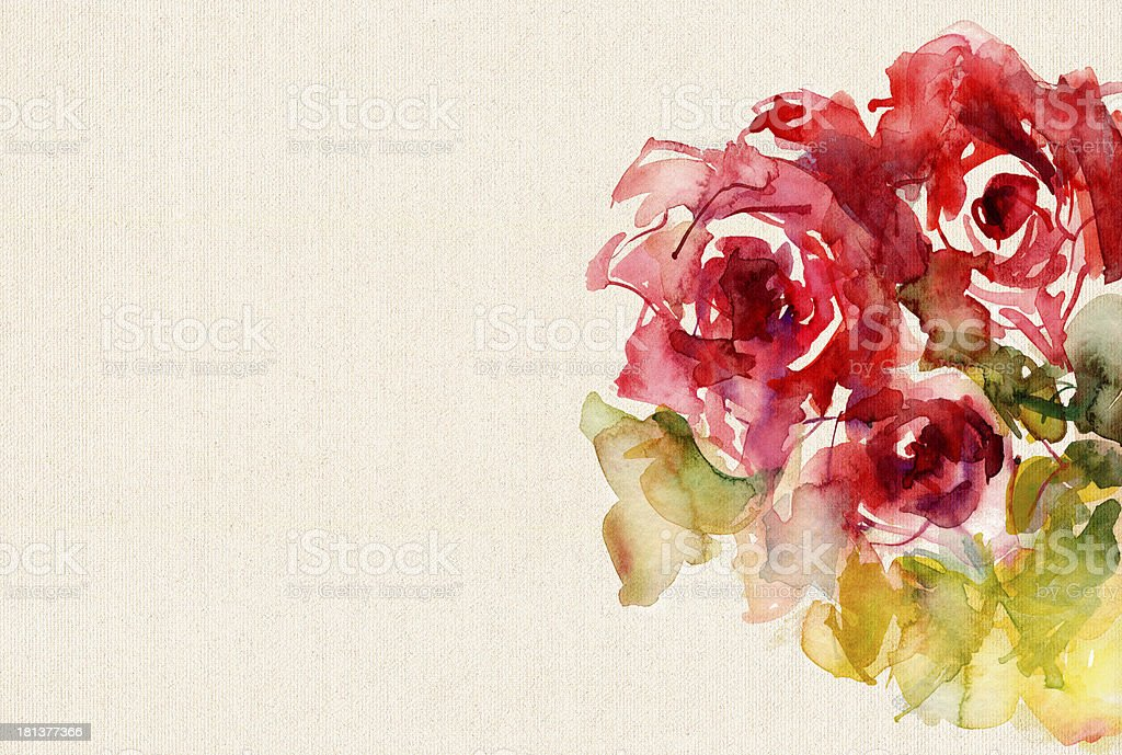 watercolor roses on canvas structure vector art illustration