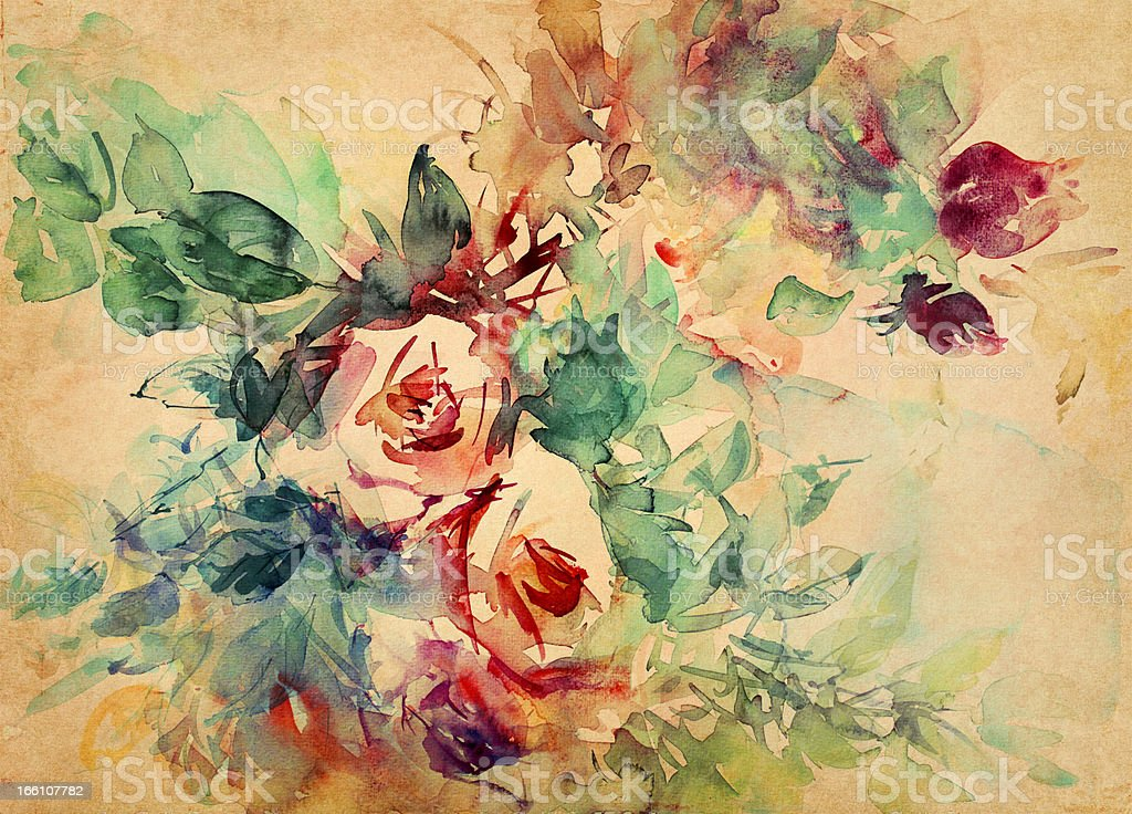 watercolor roses painted on paper royalty-free stock vector art