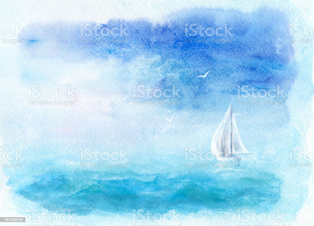 Watercolor sea and yacht vector art illustration