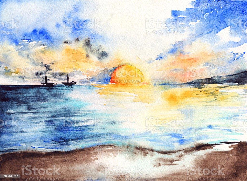 Watercolor sea ocean sunset bright ships landscape vector art illustration