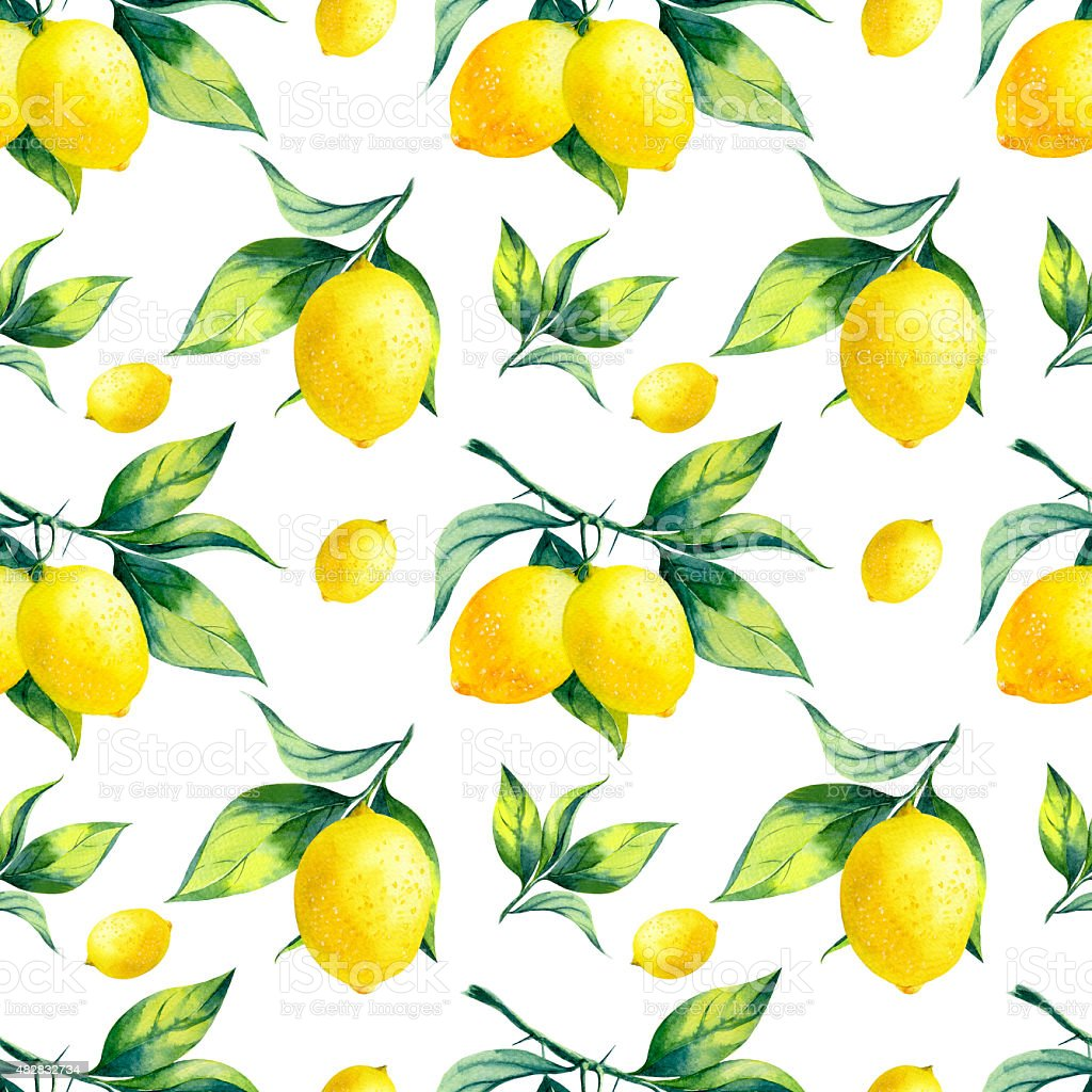 Watercolor seamless lemon pattern on white background. vector art illustration
