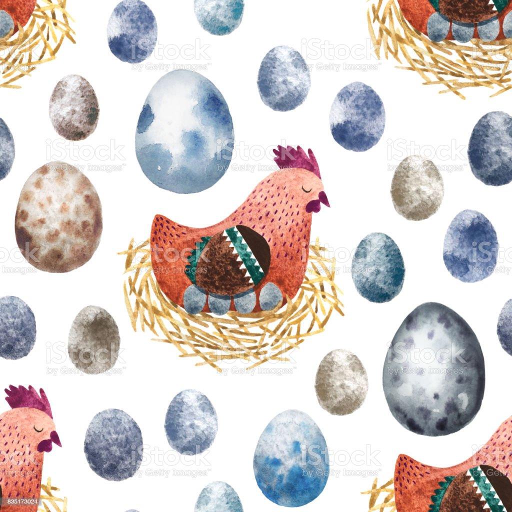 Watercolor seamless pattern vector art illustration