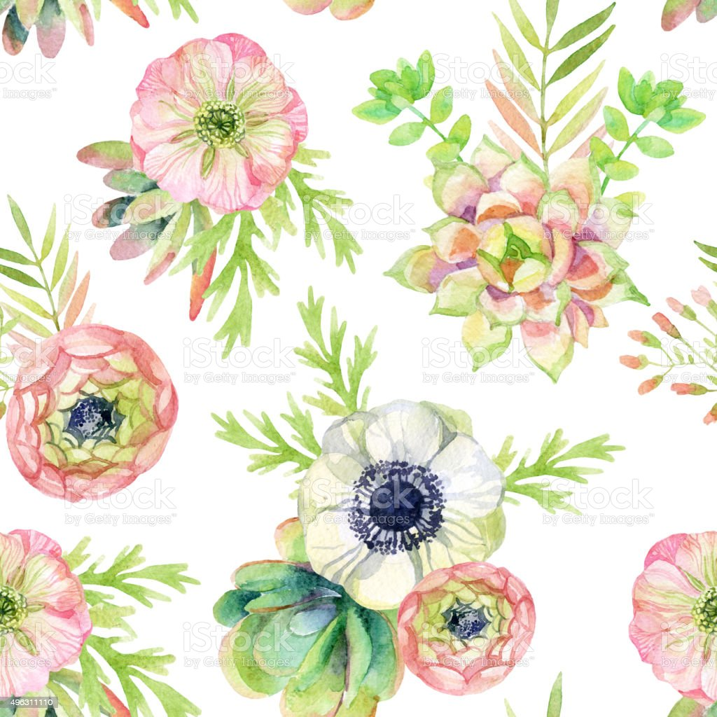 watercolor seamless pattern with anemone and herbs vector art illustration