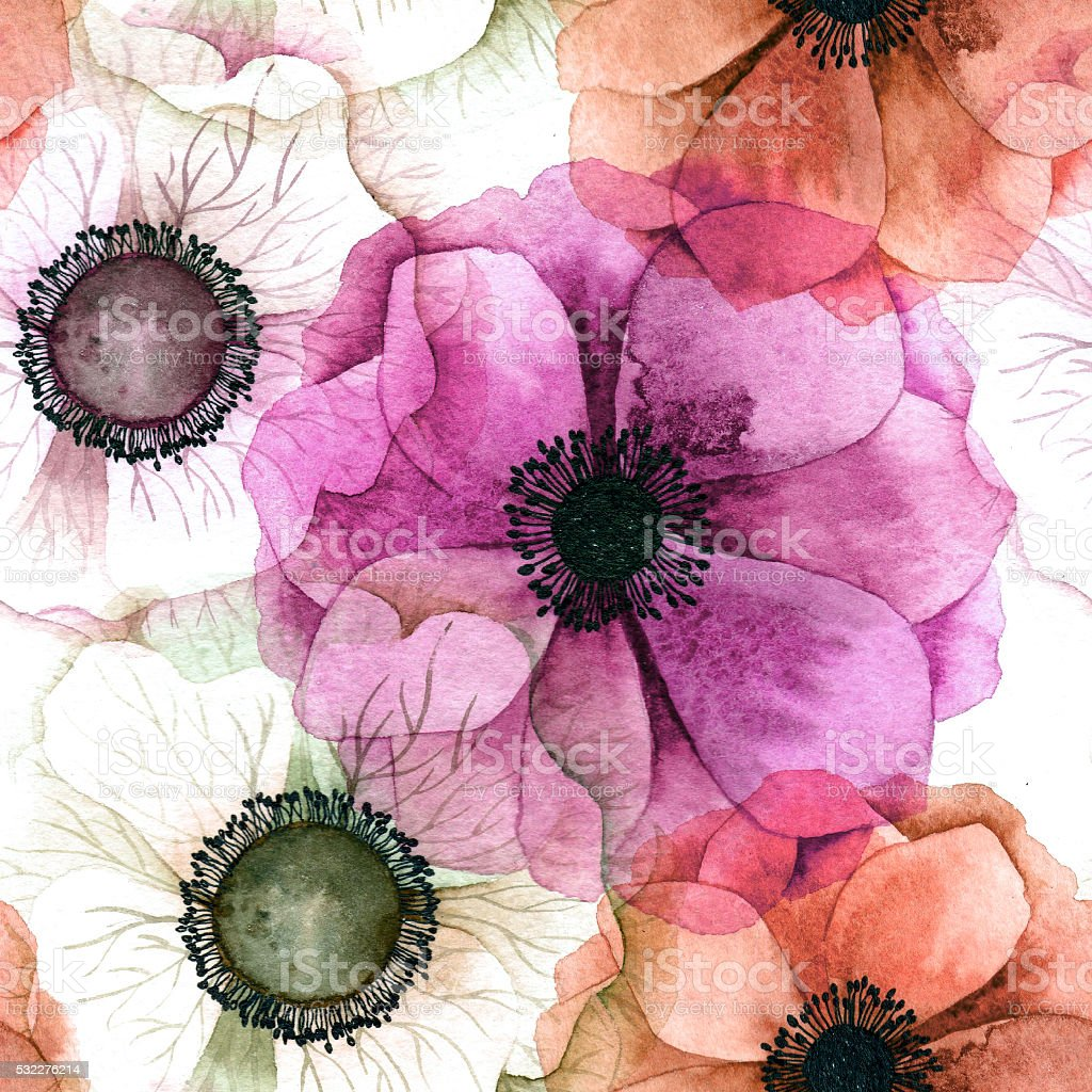 Watercolor seamless pattern with anemones. stock photo
