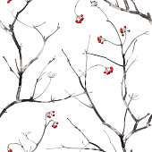 Watercolor seamless pattern with branches and berries.