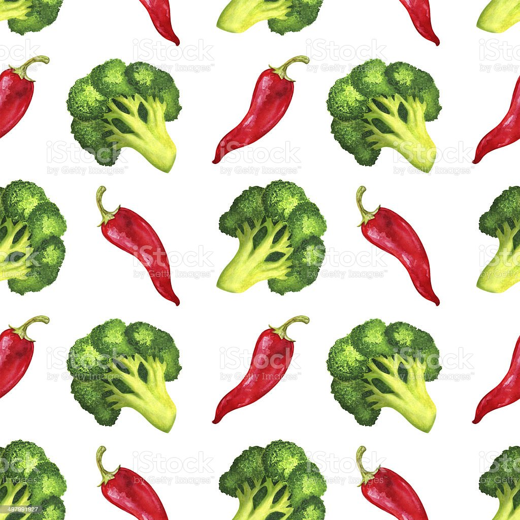 Watercolor seamless pattern with broccoli and red chili peppers vector art illustration
