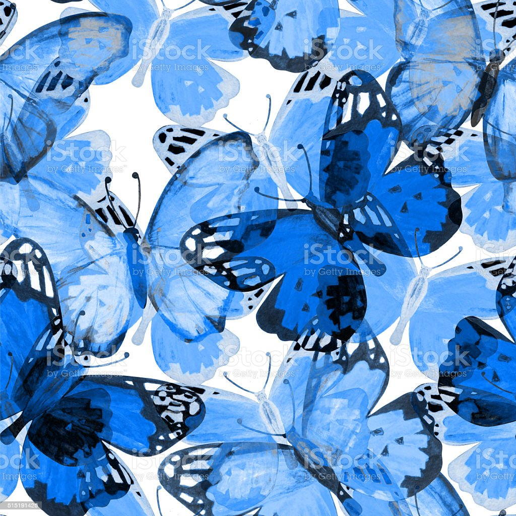 Watercolor seamless pattern with butterflies vector art illustration