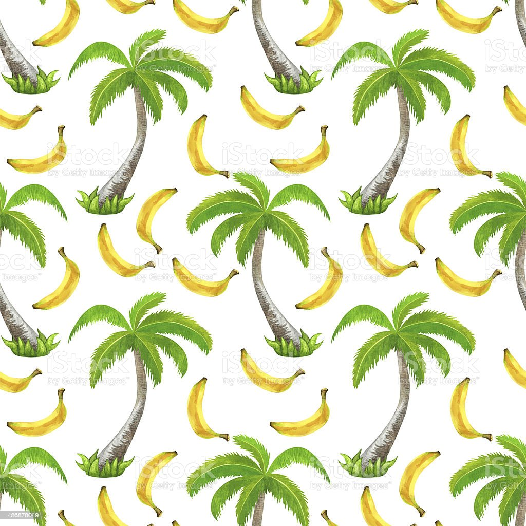 Watercolor seamless pattern with coconut palm trees and bananas vector art illustration