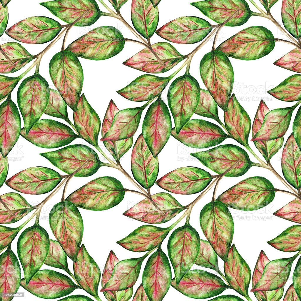 Watercolor seamless pattern with colorful leaves vector art illustration