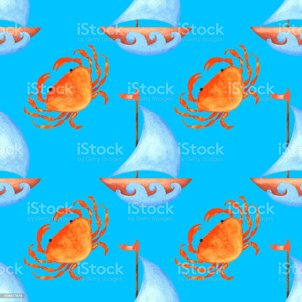 Watercolor seamless pattern with crabs, yachts, waves vector art illustration
