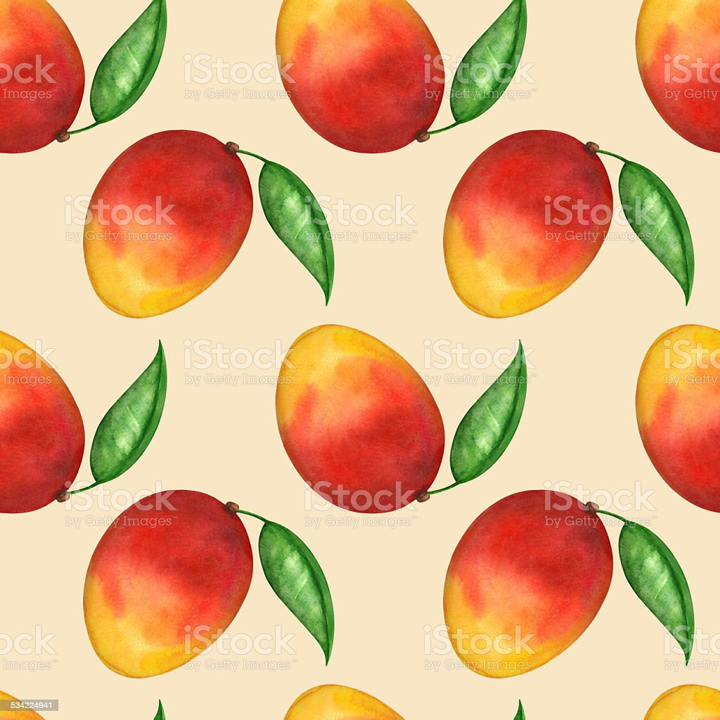 Watercolor seamless pattern with fruits mango, leafs vector art illustration