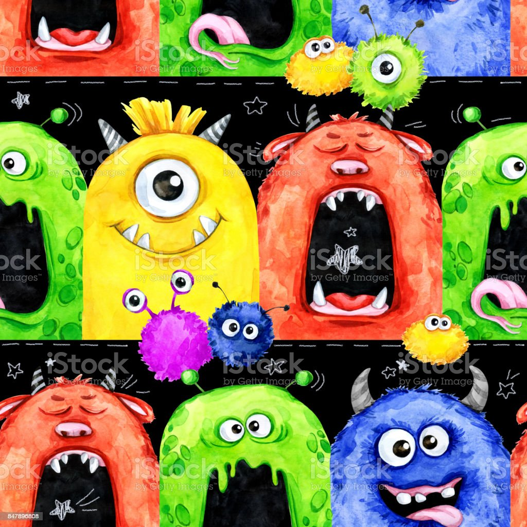 Watercolor seamless pattern with funny monster heads. Celebration illustration. Cartoon horror party. Funny beasts. Baby background. Can be use in holidays, birthday design, posters, card vector art illustration