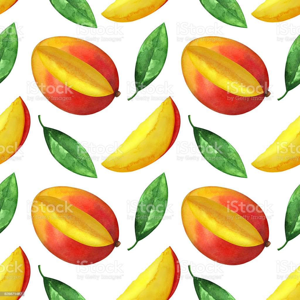 Watercolor seamless pattern with mango fruit and leaves vector art illustration