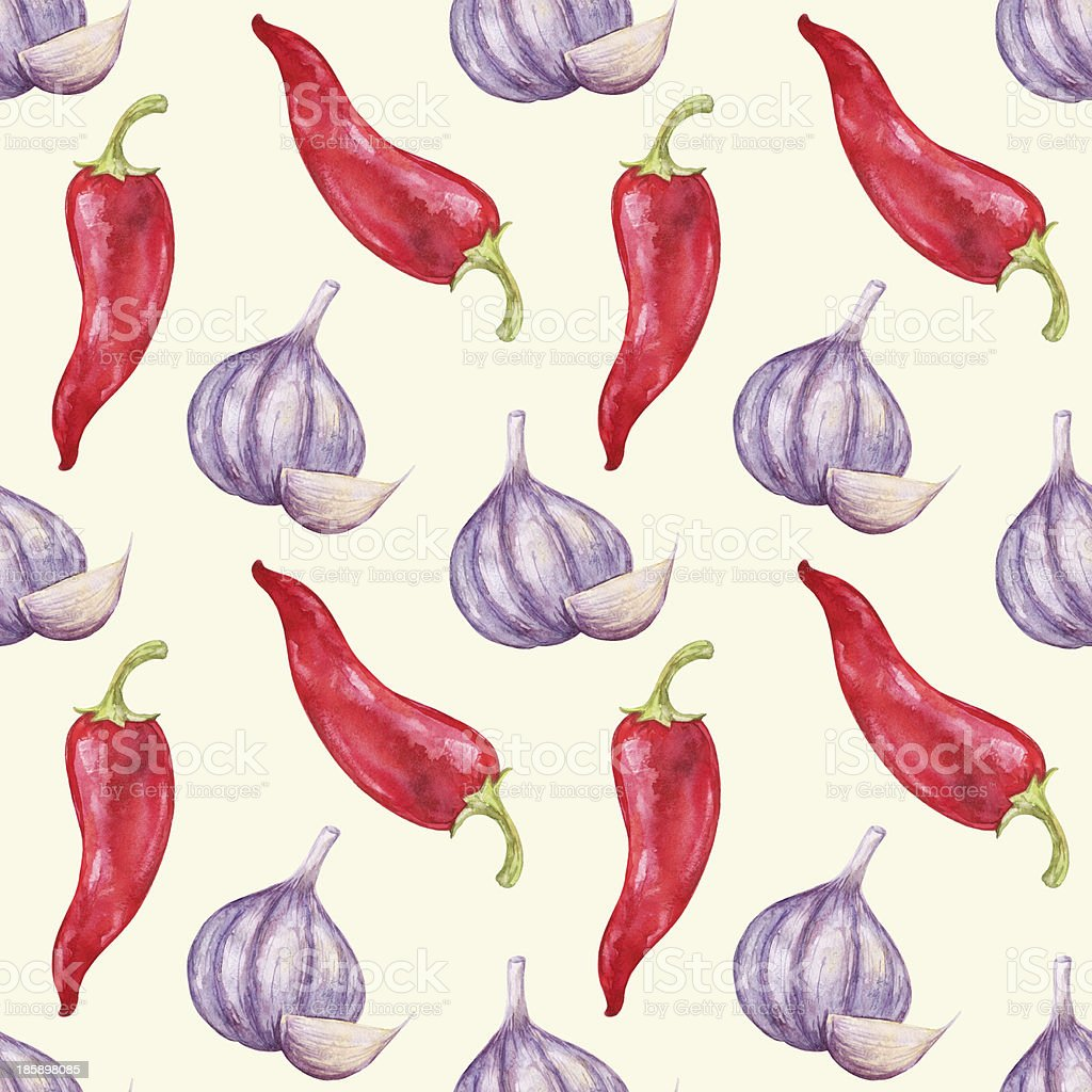 Watercolor seamless pattern with pepper and garlic vector art illustration