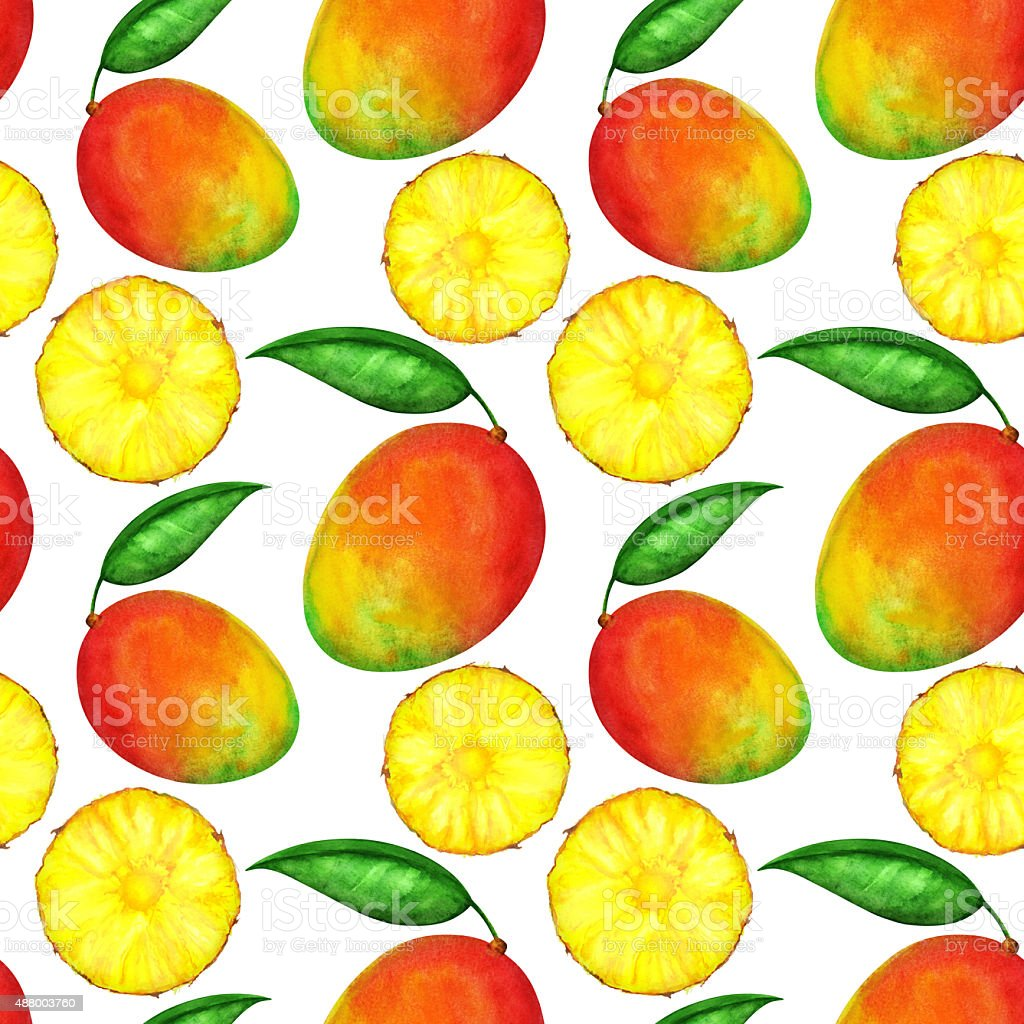 Watercolor seamless pattern with pineapples and mango vector art illustration