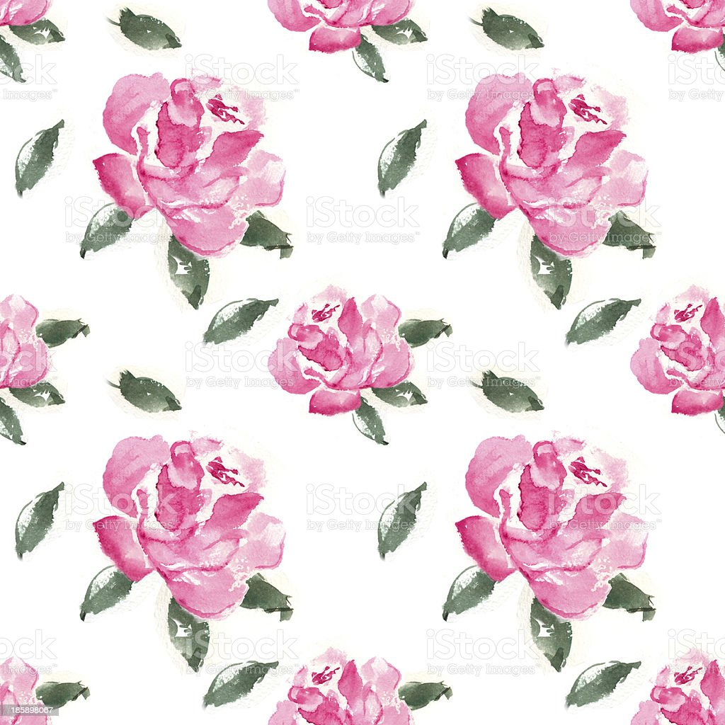 Watercolor seamless pattern with pink roses vector art illustration