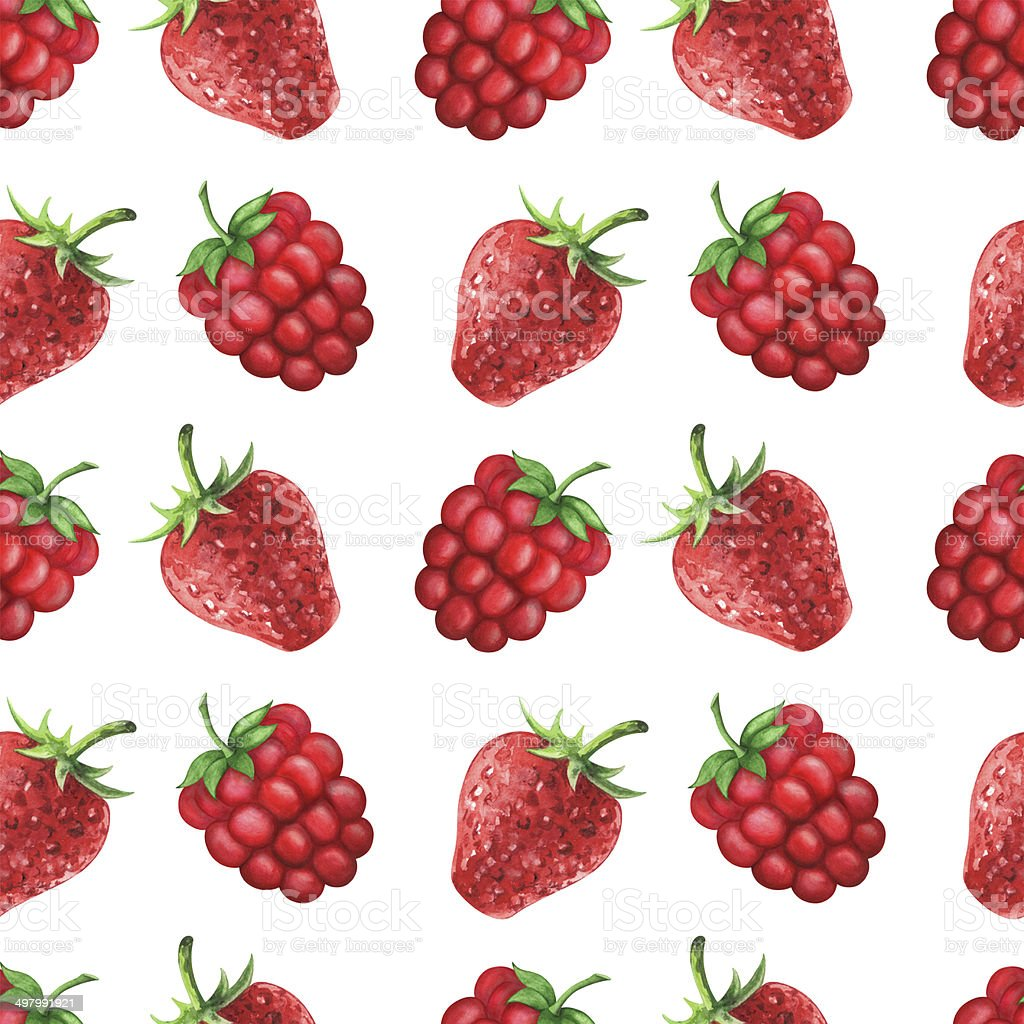 Watercolor seamless pattern with raspberries and strawberries royalty-free stock vector art
