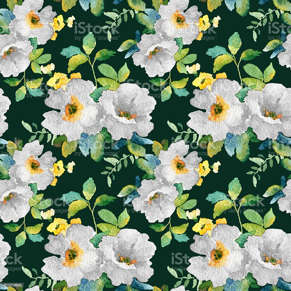 Watercolor seamless pattern with simple colorful flowers. vector art illustration