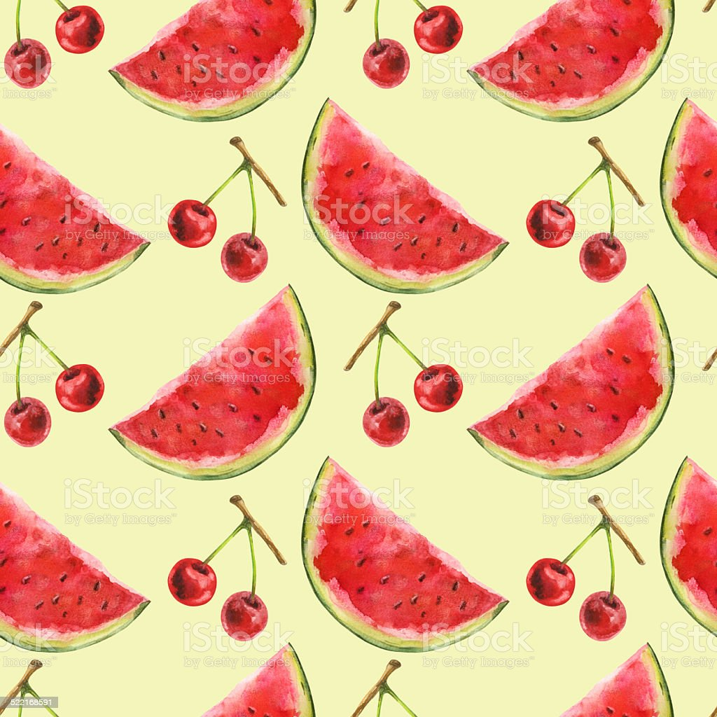 Watercolor seamless pattern with watermelon and cherry vector art illustration