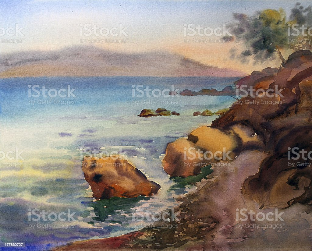 Watercolor seascape. royalty-free stock vector art