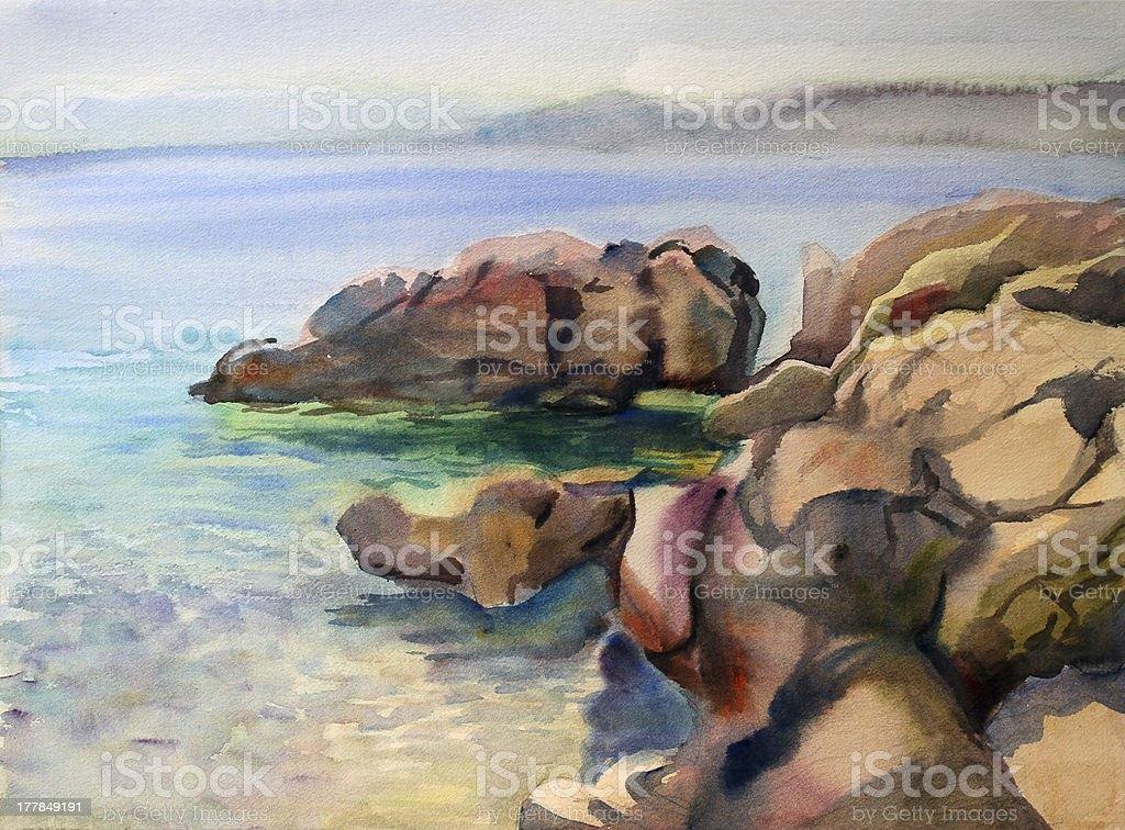Watercolor seascape royalty-free stock vector art