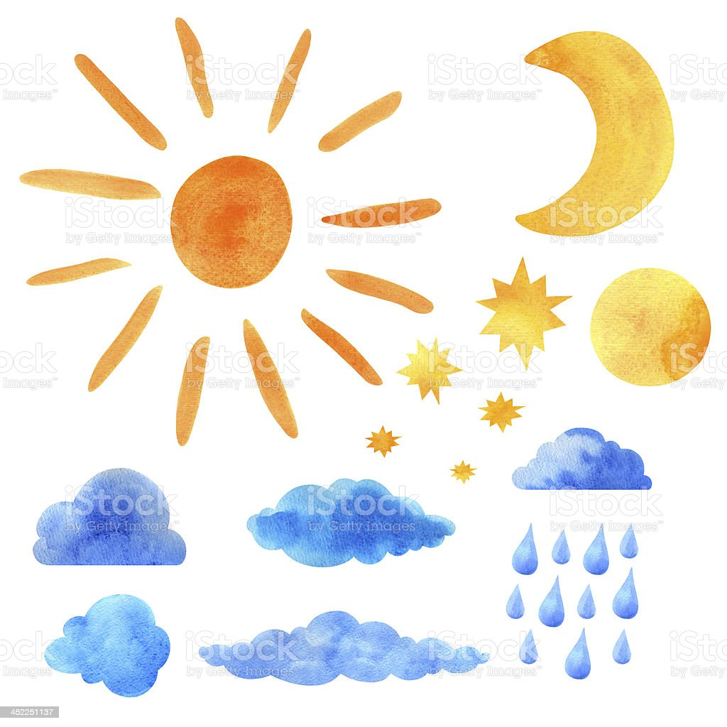 Watercolor set sun, clouds, moon, stars, raindrops vector art illustration