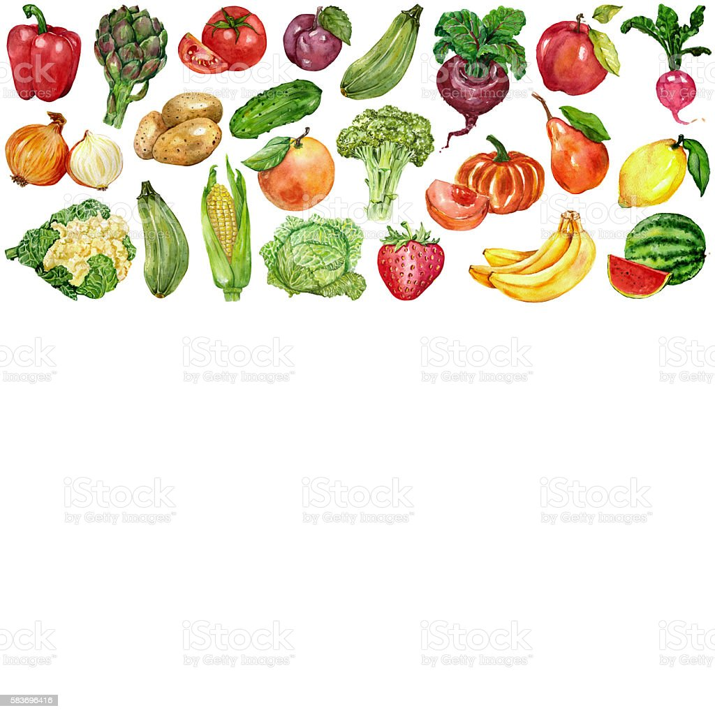 Watercolor set with fruits and vegetables vector art illustration