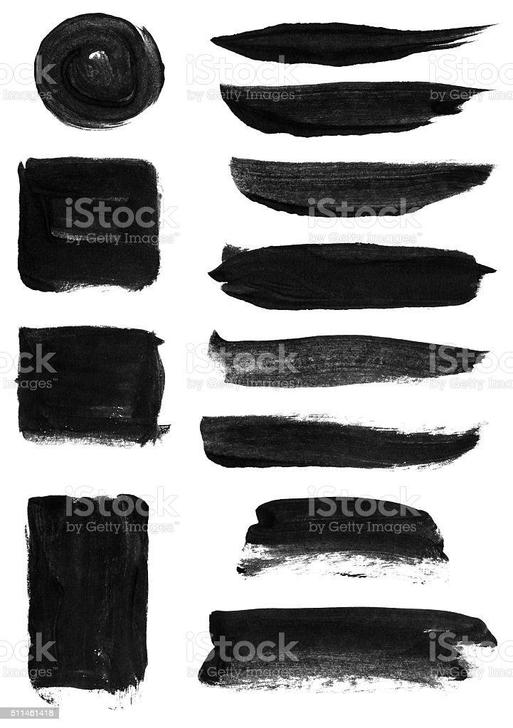 Watercolor shapes elements set vector art illustration