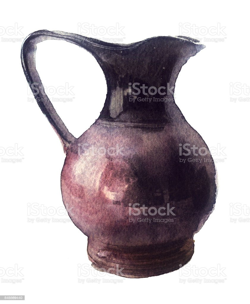 watercolor sketch: a pitcher on a white background vector art illustration