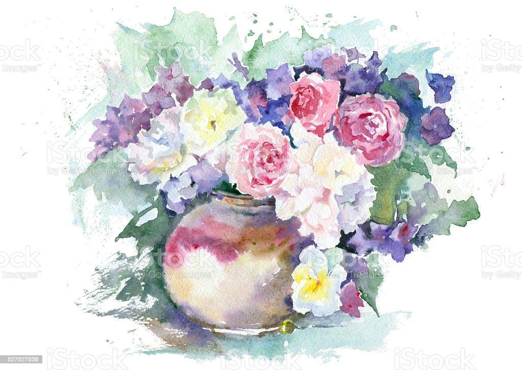 Watercolor sketch flowers in a vase. vector art illustration