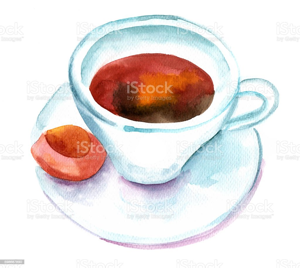 Watercolor sketch of black coffee cup with biscuit, on white vector art illustration